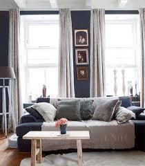 living room in navy blue decor