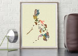 philippines map philippines art print poster wall decor
