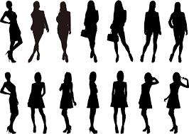 フリーイラスト 14人の女性のシルエット Image 女性シルエット