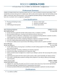 Equipment Operator Resume Heavy Equipment Operator Resume Sample Technician Free Templat Sevte 18