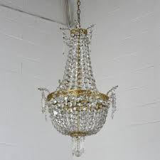 antique hollywood regency style brass and crystal basket chandelier castle prop house