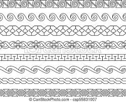 Border Patterns Best Linear Lacework Borders Set Linear Border Patterns Vector Ornament