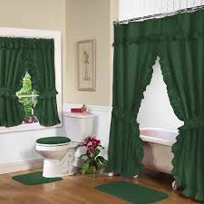 hunter green double swag shower curtain