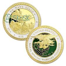 U S Navy Seals Challenge Coins Sea Air Land Gold Plated