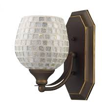 vanity led bathbar in aged bronze and silver mosaic glass find this pin and more on bathroom lighting