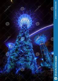 Christmas Night Light Show Night Light Show Illumination At Garden By The Bay Editorial