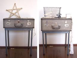 Pair Of Gray Old Vintage Suitcase Nightstand With Metal Legs Table Ideas