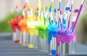 paint can centerpieces from a rainbow paint party on kara s party ideas karaspartyideas com