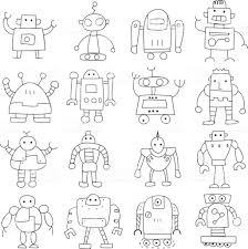 アイコン細い線ロボットかわいい落書き手描きベクトル アイコンの
