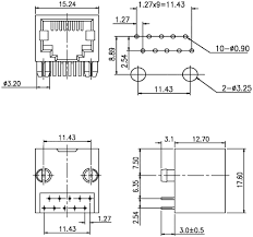 connector rj50 socket pin 10 tht pin layout 10p10c 0 66 eur dimensions view