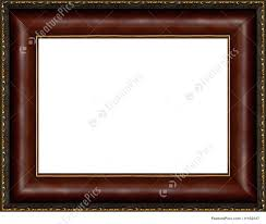 antique wooden photo frame with gilded pattern isolated border