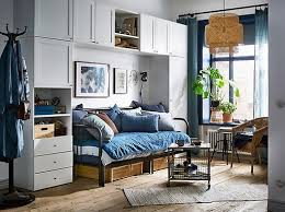 ikea bedroom cabinets. Fine Ikea A Blue And White Studio Apartment With The PLATSA Wardrobe Arranged  Around Sleeping  In Ikea Bedroom Cabinets M