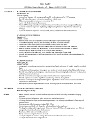 Warehouse Lead Resume Warehouse Lead Resume Samples Velvet Jobs 1