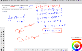 and third plug everything into the point slope form of an equation of a line y y 0 m x x 0 where m is the derivative evaluated at the given x value