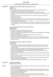 nurse anesthetist resumes certified registered nurse anesthetist resume samples