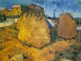 vincent van gogh haystacks near a farm