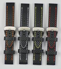 Carbon fibre effect <b>genuine leather mens</b> watch strap 20mm 22mm ...