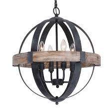 Artcraft Lighting Ac10016 Farmhouse Weathered Oak Wooden 4 Light Orb Chandelier N A