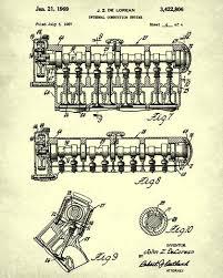 delorean blueprint car engine automotive patent print ontrendandfab delorean blueprint car engine automotive patent print