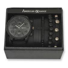 men s matte black watch and bracelet set sears