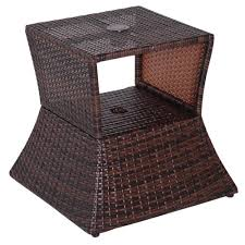outsunny rattan side table outdoor tea