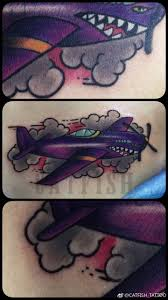 Cover Up Old School Tattoo Oldschool Tattoo Airplane Clouds