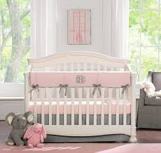 petal pink and gray crib bedding baby