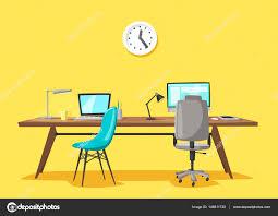 Lieu De Travail Moderne Travail De Bureau Illustration De Vecteur