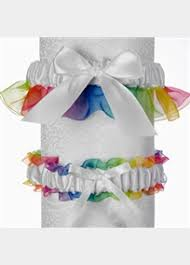coordinating keepsake and toss garter set with rainbow organza Wedding Garter Facts trendy and colorful, take a look at our rainbow wedding garter set perfect to celebrate your lesbian wedding ceremony the rainbow garter set includes wedding garter facts