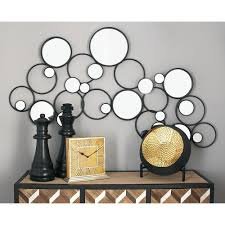 litton lane contemporary round gray abstract decorative wall mirror