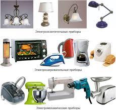 Безопасное пользование бытовыми электрическими приборами Труд  Рис 184 Типы бытовых электрических приборов