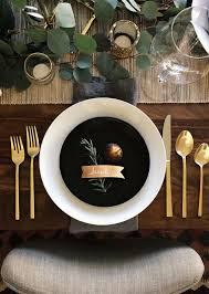 style a black gold table setting