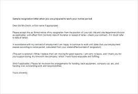 Job Resignation Letter Template Example Resignation Letter For New Job Notice Template Of
