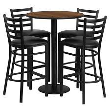 30 round laminate table set with 4 ladder back metal bar stools 4 styles available