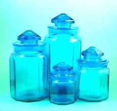 vintage blue glass canister set kitchen canisters sets medium size of ceramic image vi