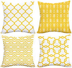 Image Bed Pillows Lemon Yellow Throw Pillow Case Arrow Quatrefoil Accent Trellis Chain Pillow Cover Modern Cushion Cover Square Amazoncom Amazoncom Yellow Decorative Pillows