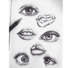 black draw eyes lips pencil