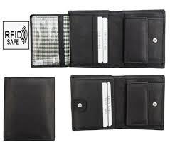 alva mens soft black leather trifold wallet popper opening rfid blocking new