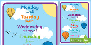 French Days Of The Week Days Of The Week Display Poster English French Days Of The