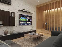 Home Designs: White Brick Accent Wall - Studio Apartment Design