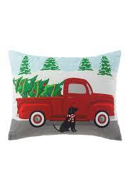 image of peking handicraft red green truck printed pillow 14x18