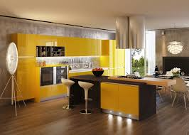 Yellow Kitchen Floor Modern Industrial Kitchen Ideas With Yellow Cabinet And Brown