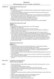 Order Entry Specialist Resume Samples Velvet Jobs