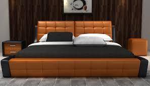 Orange And Black Bedroom Modrest D539 Modern Orange Black Bonded Leather Bed