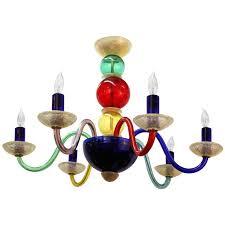 gio ponti six arm chandelier in colorful murano glass