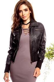 black faux leather ribbed detail collared jacket