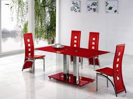 alba small red glass dining table with alison dining chair
