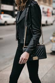 club monaco black leather jacket black skinny jeans chanel boy bag fashion jackson dallas blogger fashion