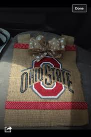 ohio state burlap garden flag is hand painted and made to order about 14x18 and one side contact me with specific details on the design yo on 25 00