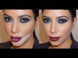 kim kardashian blue smokey eye red lip mario dedivanovic makeup tutorial